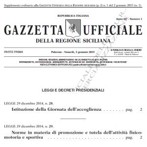 Gazzetta Ufficiale Regione Sicilia n. 1 Gennaio 2015 contenente legge regionale 29 del 29.12.2014