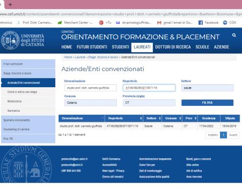 Convenzione-Università degli Studi di Catania-Studio Prof. Dott. Carmelo Giuffrida-Catania
