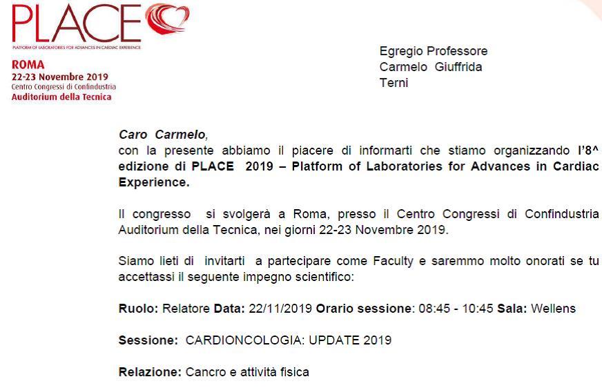 Convocazione PLACE Relatore Prof. Carmelo Giuffrida su Cancro e Attività Fisica