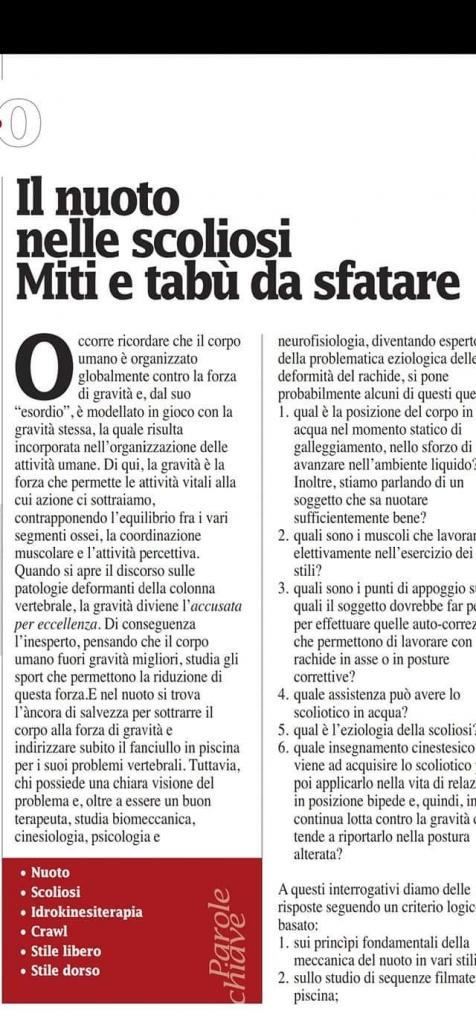 Scoliosi e Nuoto Miti e Tabu da sfatare su Scienza & Sport - Prof. Carmelo Giuffrida - Catania-1