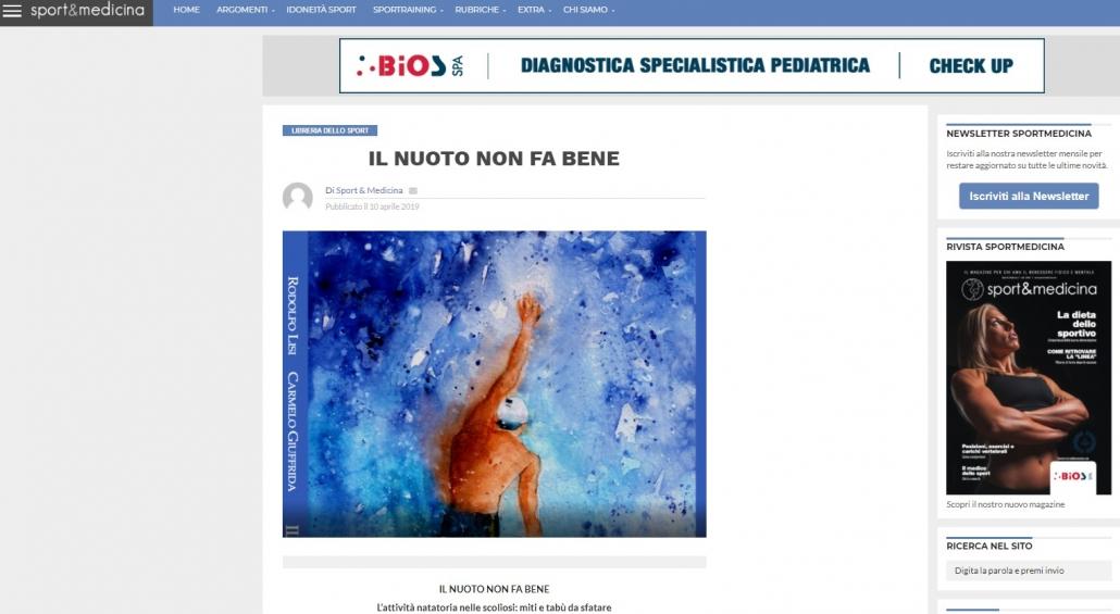 scoliosi e nuoto su sport e medicina dedica articolo al libro del Prof. Carmelo Giuffrida