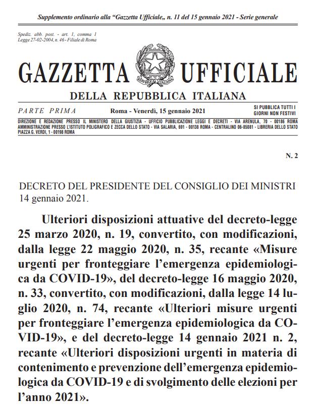 decreto Presidente Consiglio Ministri 15 Gennaio 2021Coronavirus a Catania lockdown Attività Fisica Adattata e Studi Professionali