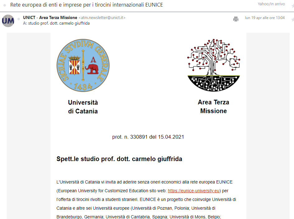 Progetto EUNICE-studio prof. Carmelo Giuffrida-Università di Catania